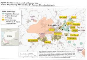 Mapa proporcionado por la Administración Obama, donde se señalan las zonas supuestamente atacadas con armas químicas por el ejército sirio. http://www.guerraeterna.com